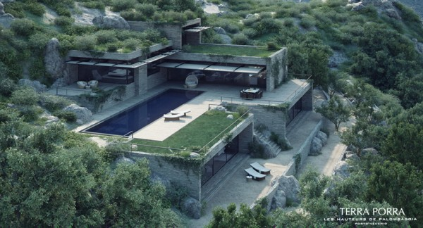 mountainside villa with pool and green roof