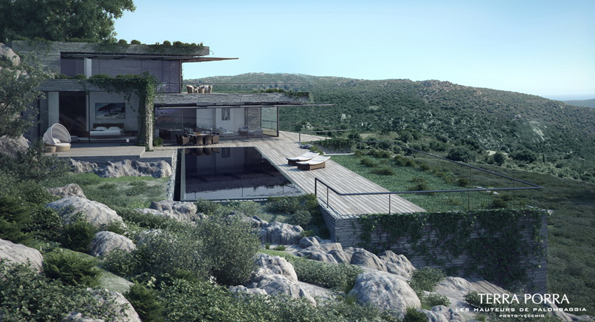 Corsican mountain view villas visualized for Modern house design on hillside