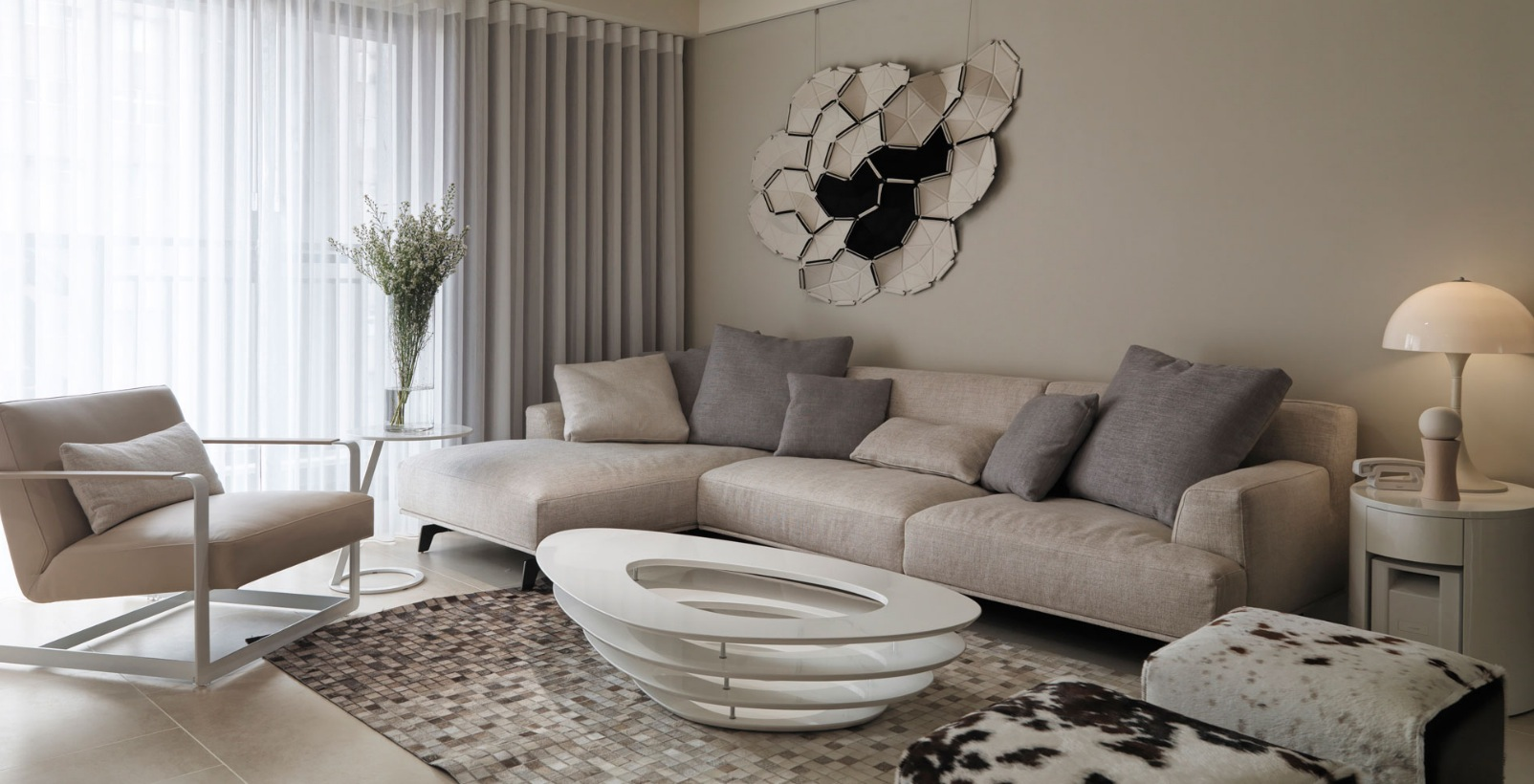 Neutral contemporary apartment by w c h design studio for Neutral tone living room ideas