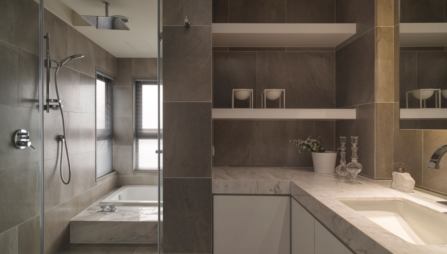 Neutral contemporary apartment by w c h design studio for Modern apartment bathroom ideas