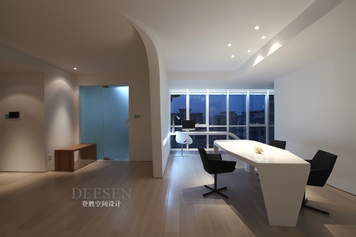 office wing white with down lighting and view  Interior Design Ideas