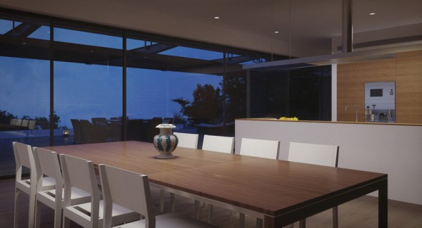 open plan kitchen dining with view down lit