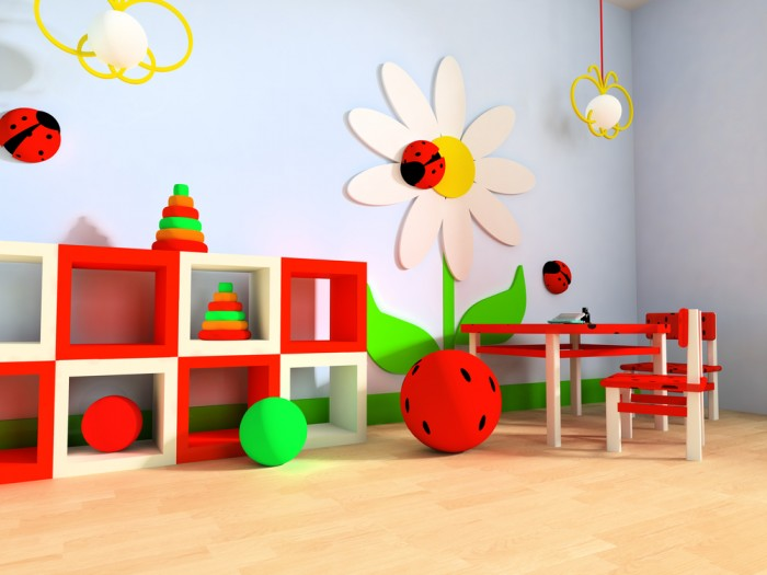 primary colored child's playroom clouds and flowers blonde wood flooring