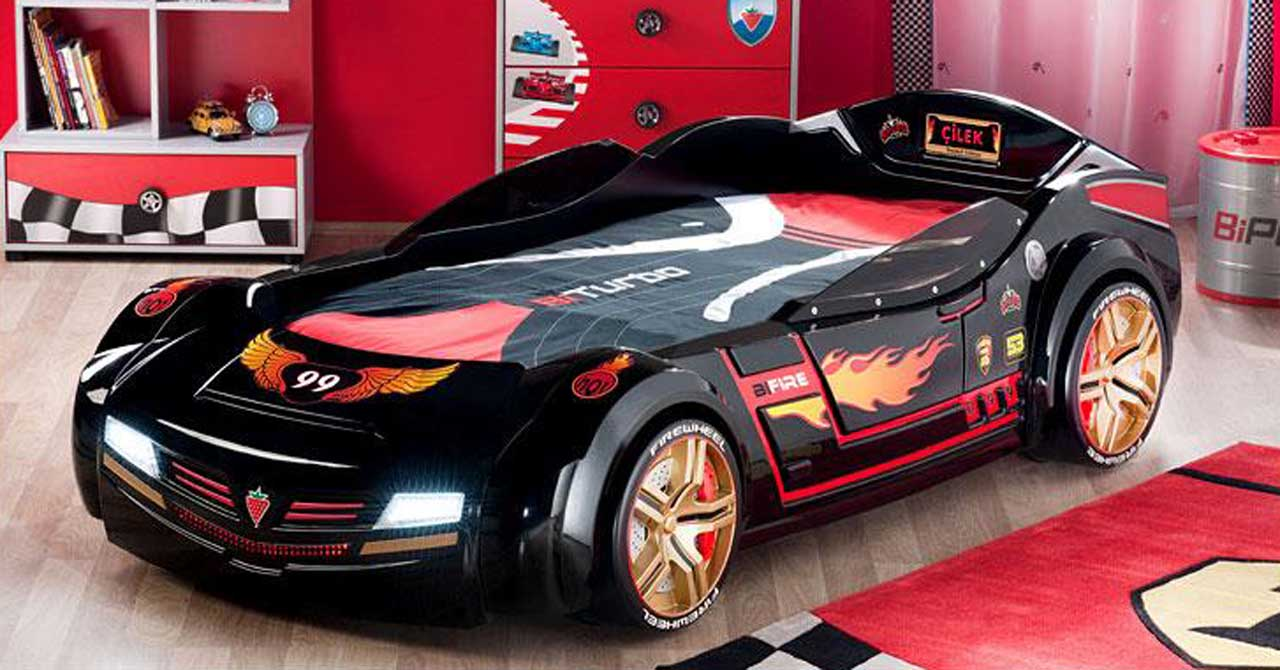 Boys car bedroom ideas - Race Car Themed Boys Room Black And Red Interior Design Ideas