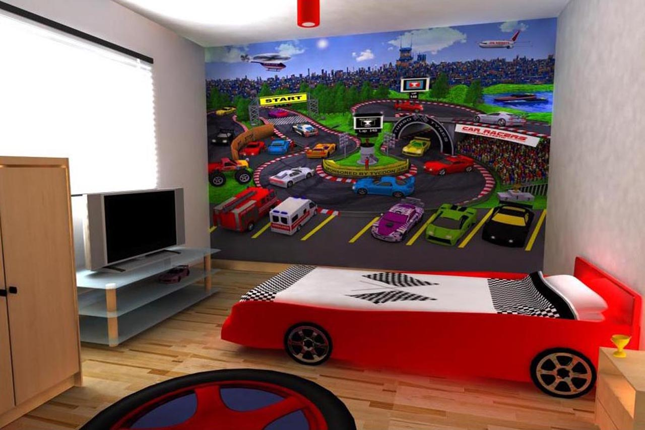 Race Car Themed Feature Wall Boys Roominterior Design Ideas