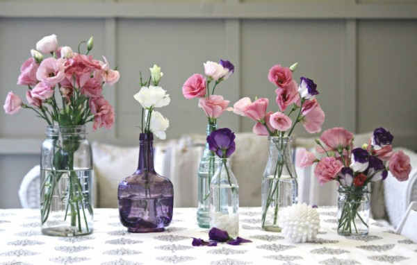 recycled bottle jar collection lisianthus