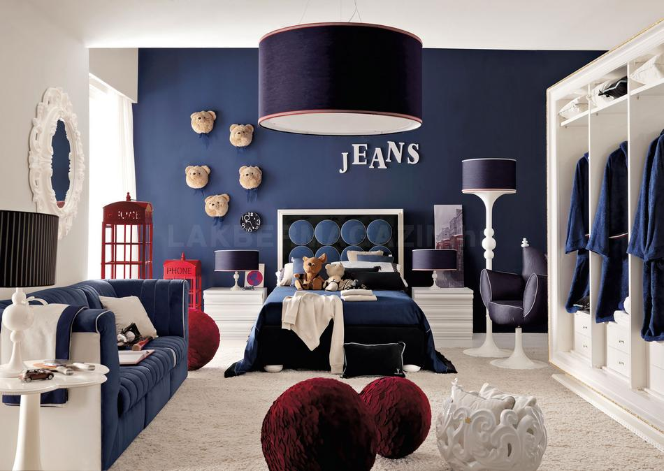 red white and blue denim themed boys room Interior