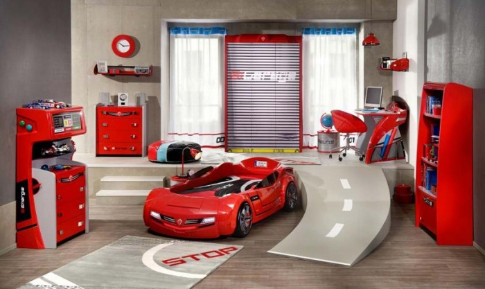 red white and blue motor racing boys room