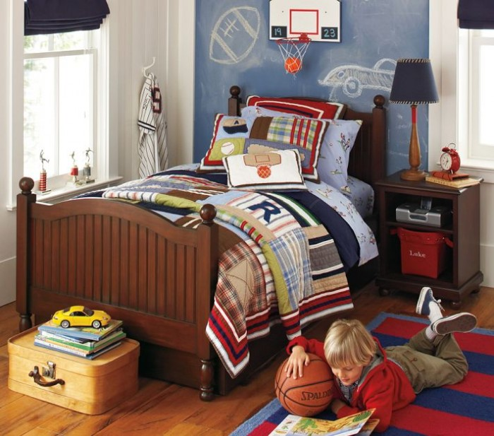 red white and blue plaid sports themed boys room