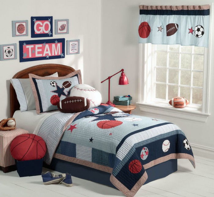 red white and blue sporting themed boys room