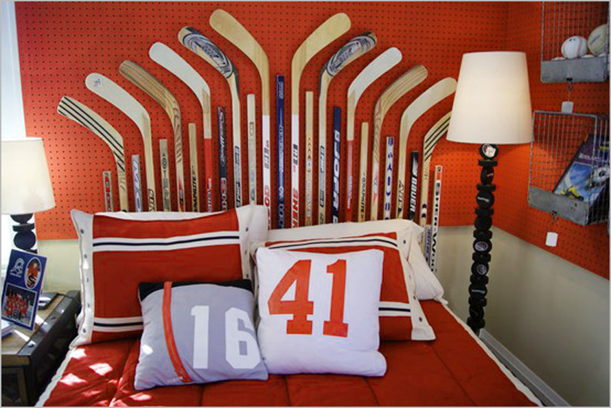 Red White And Blue Sports Themed Boys Room Interior