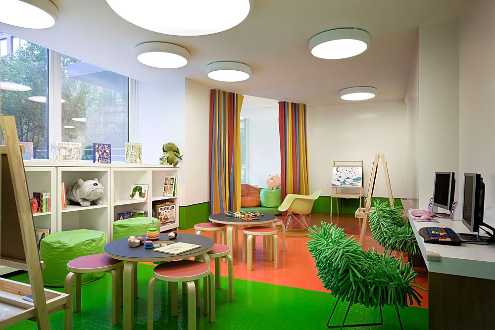 retro shagpile chairs child's playroom and homework space exaggerated lighting