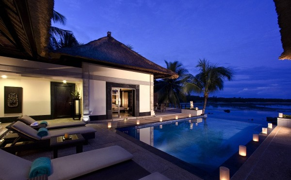 romantic infinity pool bungalows with island views