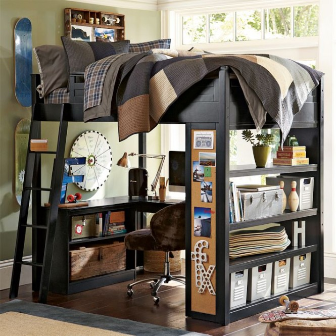 skateboard themed bunk bed with workspace boys room interior design