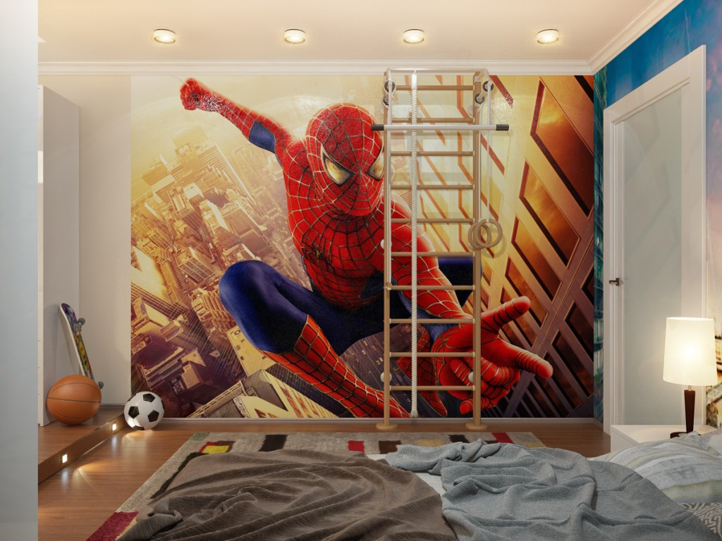 Spiderman Down Lit Boys Room With Ladder
