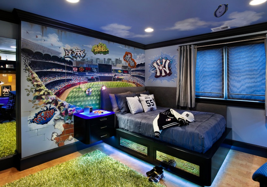 Sport Themed Yankies Boys Room Blue | Interior Design Ideas.