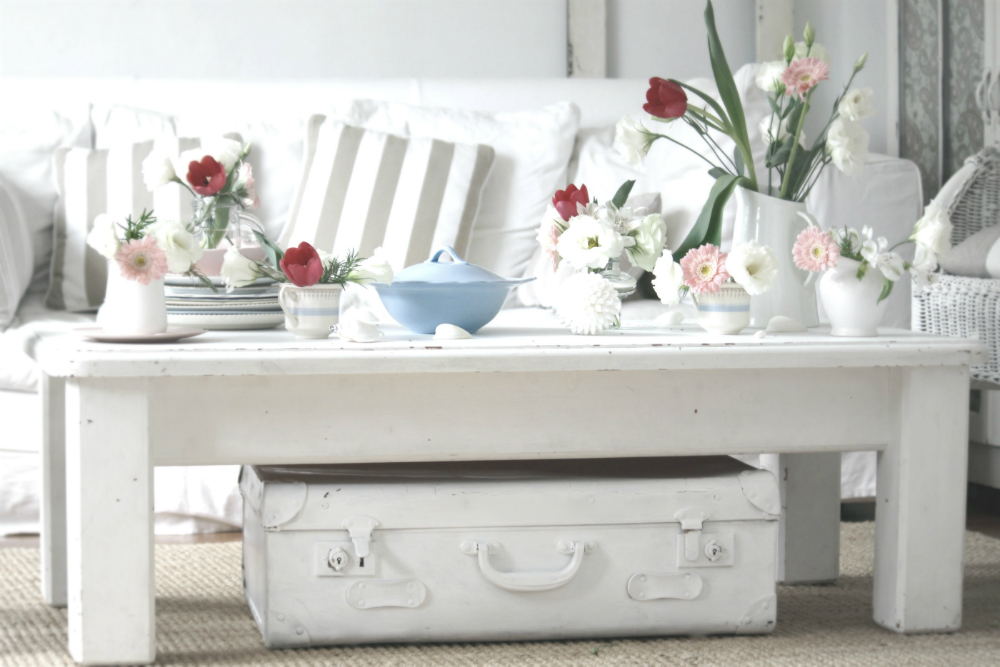 vintage white coffee table suitcase with floral collection ...