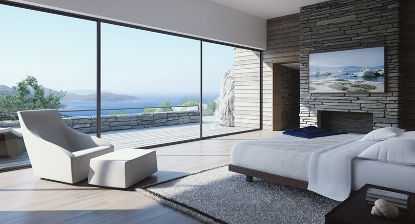 white and stone bedroom with view and fireplace interior