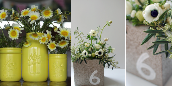 white floral collections in yellow recycled vintage jars