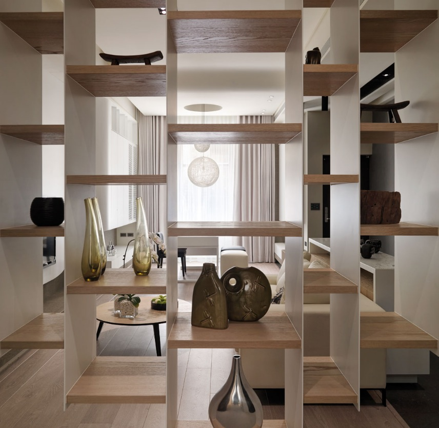 Multi level contemporary apartment - Contemporary built in bookshelves ...