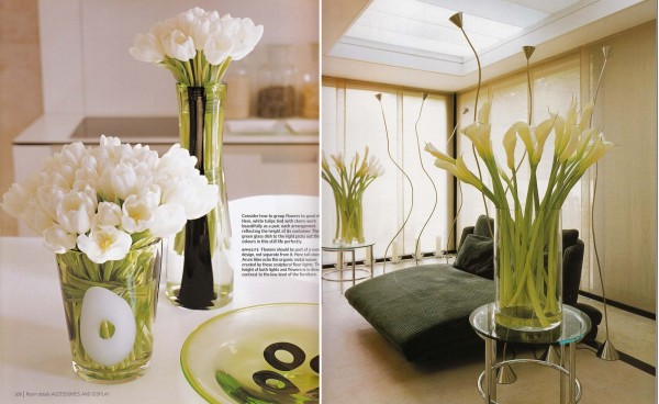 white tulips and calla lilies kitchen dining