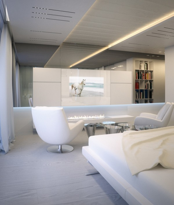 Alexander Lysak Visualization- Bedroom white flatscreen and ethanol fireplace