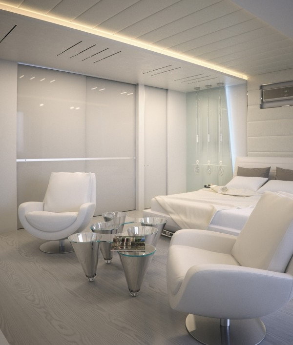 Alexander Lysak Visualization- Bedroom white sitting area with metallic accents