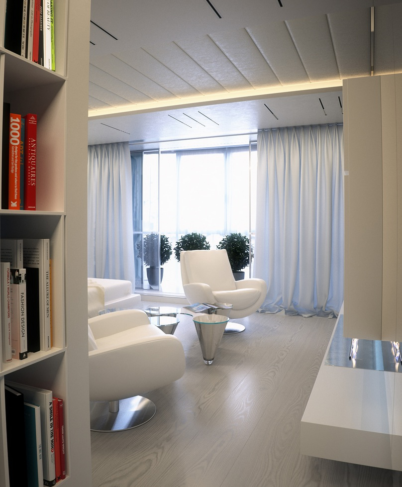 Mirrored Living Room Furniture Alexander Lysak Visualization Mirrored Hall To Curtained White