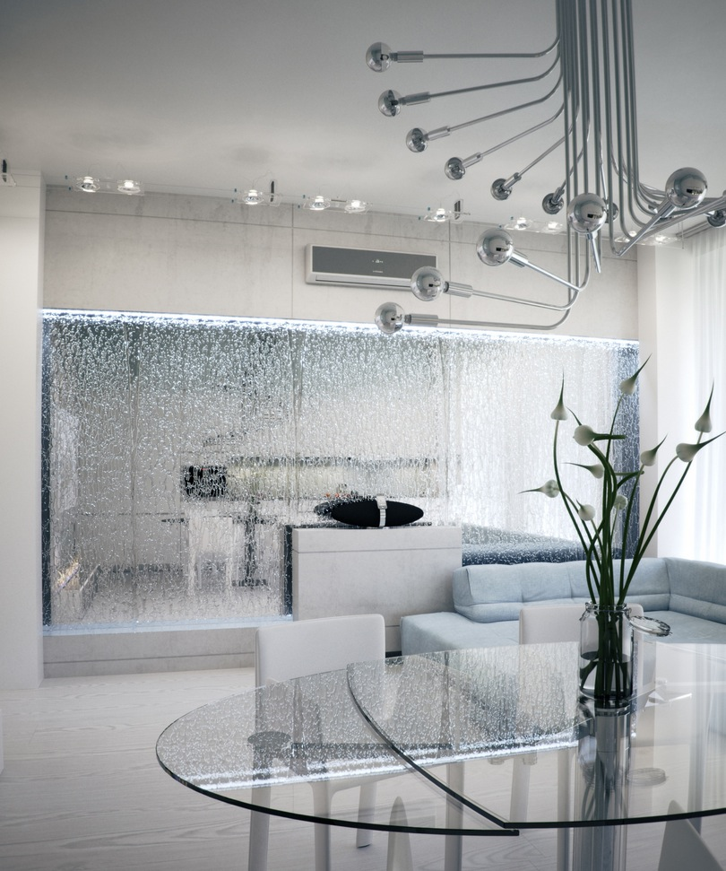 Alexander lysak visualization mirrored water feature wall for Feature wall interior design
