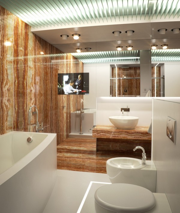 Luxury of a different kind is realized in the bathroom, complete with bidet and flat screen television viewable from the exceptionally deep tub. As equally abundant in reflective surfaces as the rest of the visualization, the bathroom shows a preference for an earthy palette and elemental building materials.