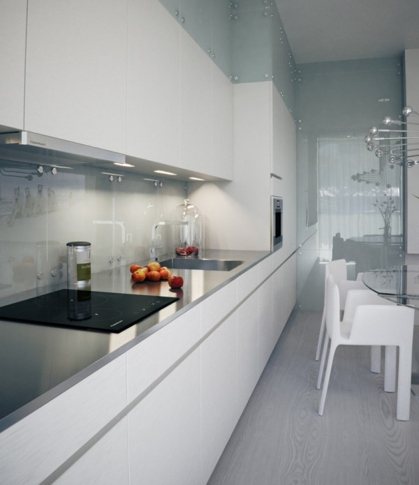 Alexander Lysak Visualization- sleek narrow kitchen in white with reflective splash