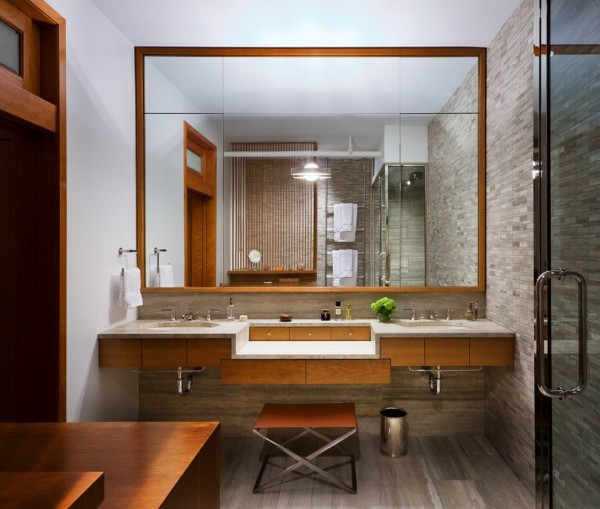 Brick Wall Studio Apartment by Stephan JAKLITSCH : GARDNER - elemental wooden framed bathroom with stone feature wall