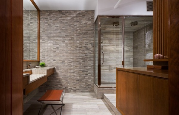 Brick Wall Studio Apartment by Stephan JAKLITSCH : GARDNER - elemental wooden framed bathroom with stone feature wall and double shower