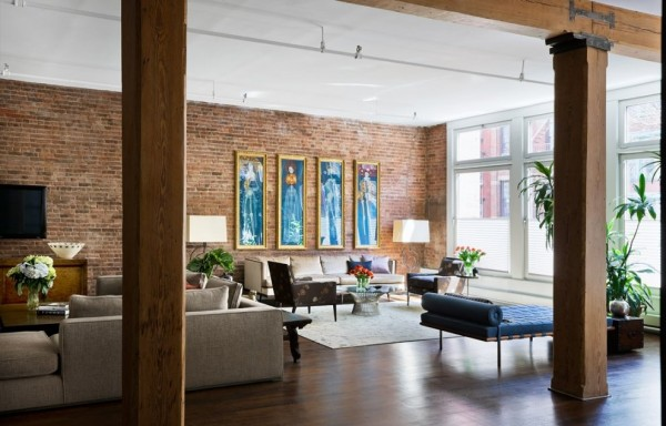 Brick Wall Studio Apartment by Stephan JAKLITSCH : GARDNER - exposed beam living with formal lounge and entertainment area teal accents