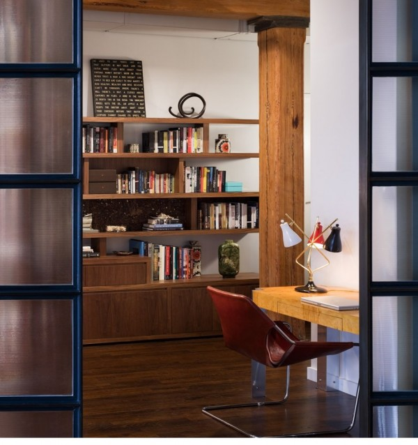 Brick Wall Studio Apartment by Stephan JAKLITSCH : GARDNER - view to library through japanese style double doors
