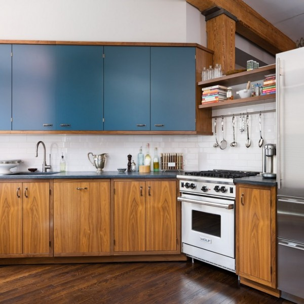 Brick Wall Studio Apartment by Stephan JAKLITSCH : GARDNER - wood and teal gas kitchen