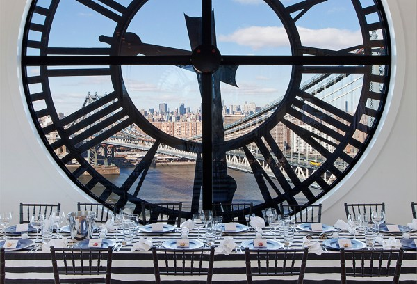 Clock Tower Apartment- formal dining against clockface backdrop with views to New York City