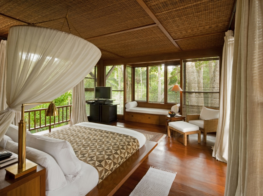 Como Shambhala Estate Bali Bamboo Matting And Wood Organic Interior Of Guest Room