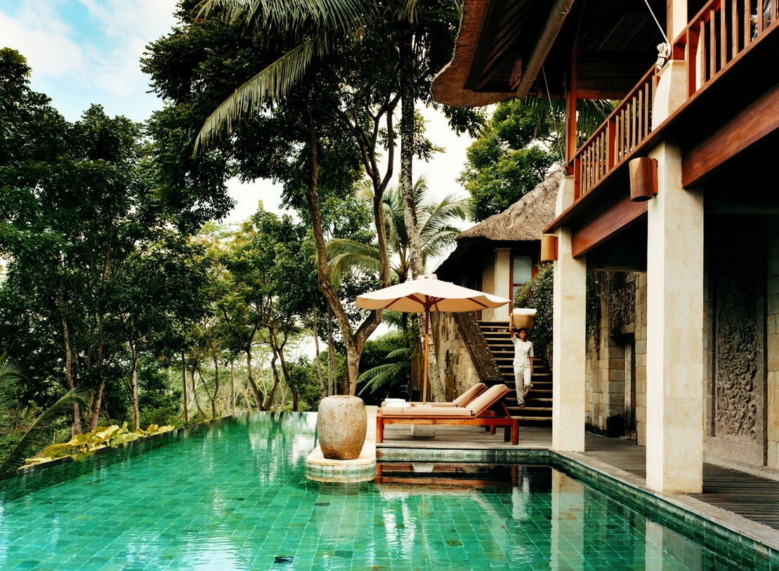 Como shambhala estate bali stone staircase access to for Pool design bali