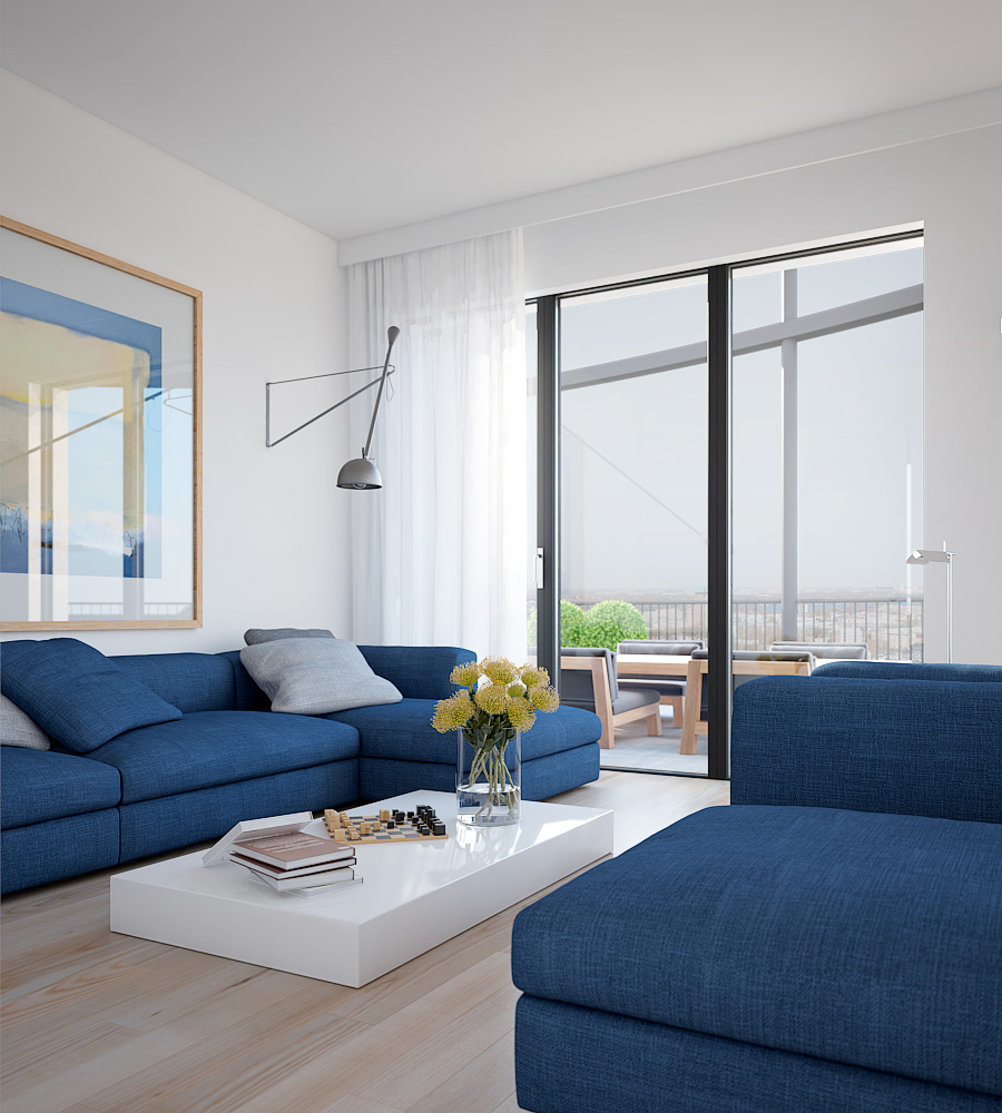 Cool blue apartment- bright couches with solid white coffee table ...