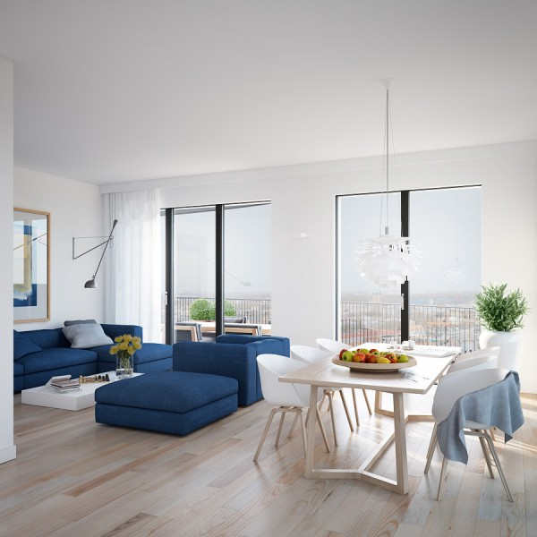 Cool blue apartment- open plan living dining with minimal window treatments and blonde wood flooring