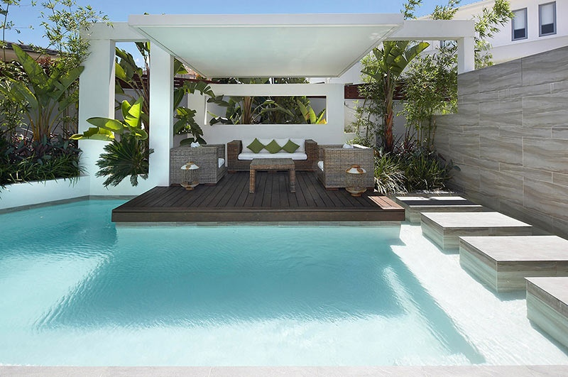 Modern Backyard Pool Designs : Custom Pool Area outdoor lounge patio  Interior Design Ideas