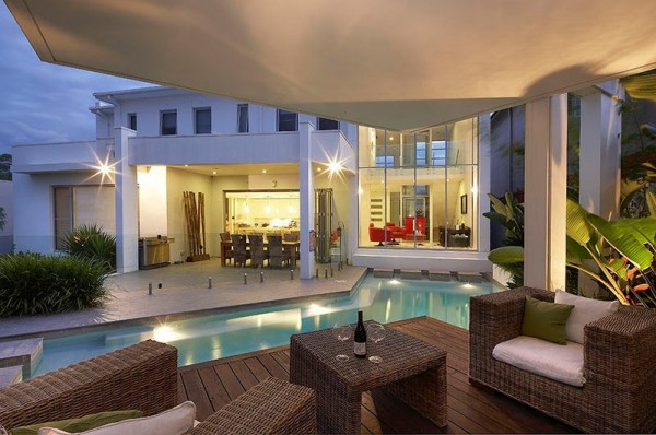 Custom Pool Area- undercover patio lounge with view to main living quarters