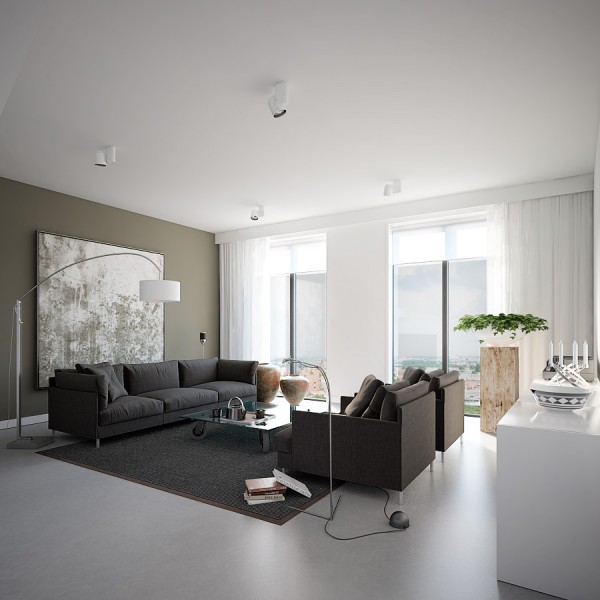 Earthy Grey Apartment- living with featured wall print and floor lamp