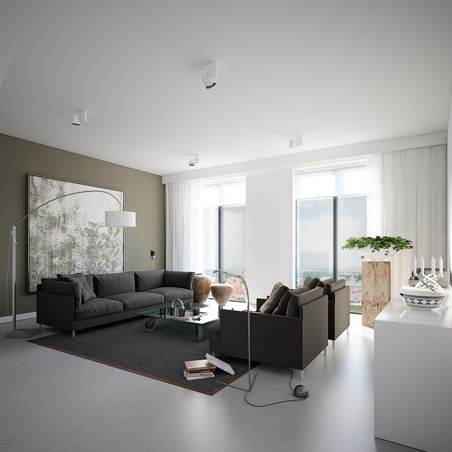 Earthy grey apartment living with featured wall print and for Grey interior designs