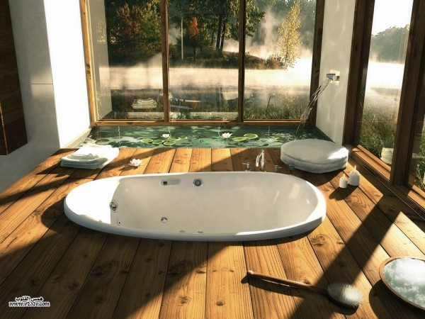 Houzz- wooden bath with sunken tub and indoor water feature pond
