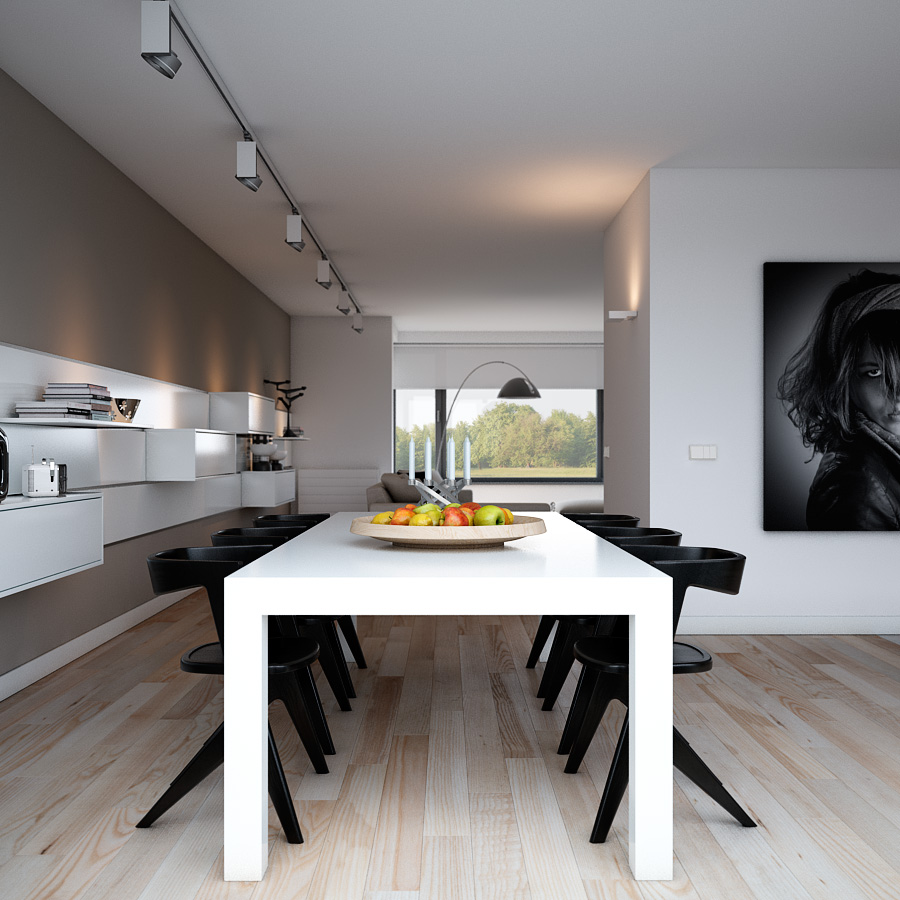 Indulgent grey apartment- modern dining with monochrome setting ...