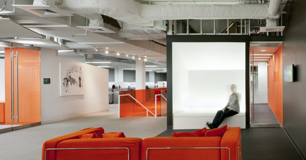 Kayak Startup Tech Office Industrial Style Exposure White And Orange Palette Interior Design