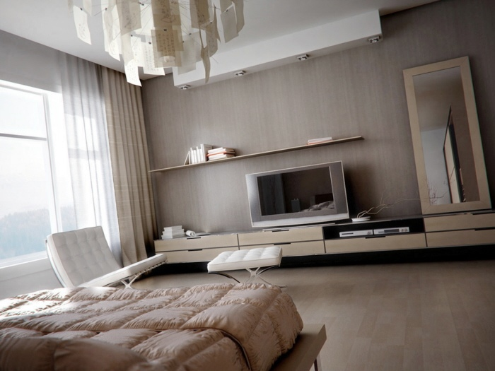 Muted Bedroom with modern light fixture and blonde wooden storage ...