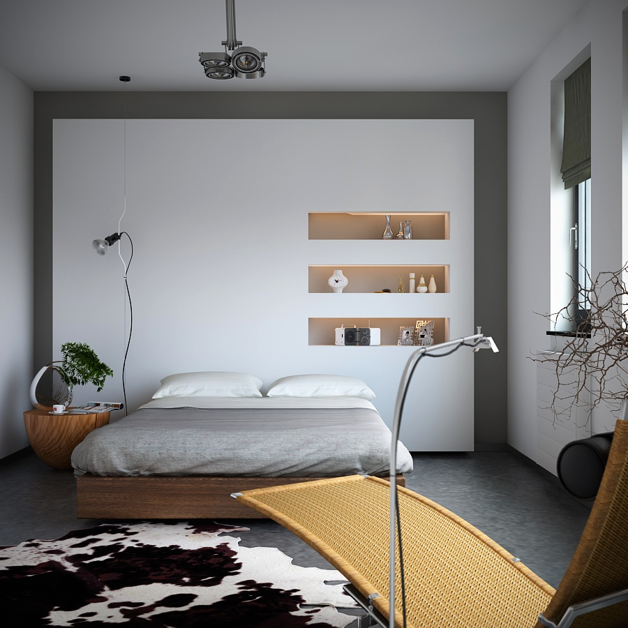 organic meets industrial bedroom with monochrome cowhide rug storage